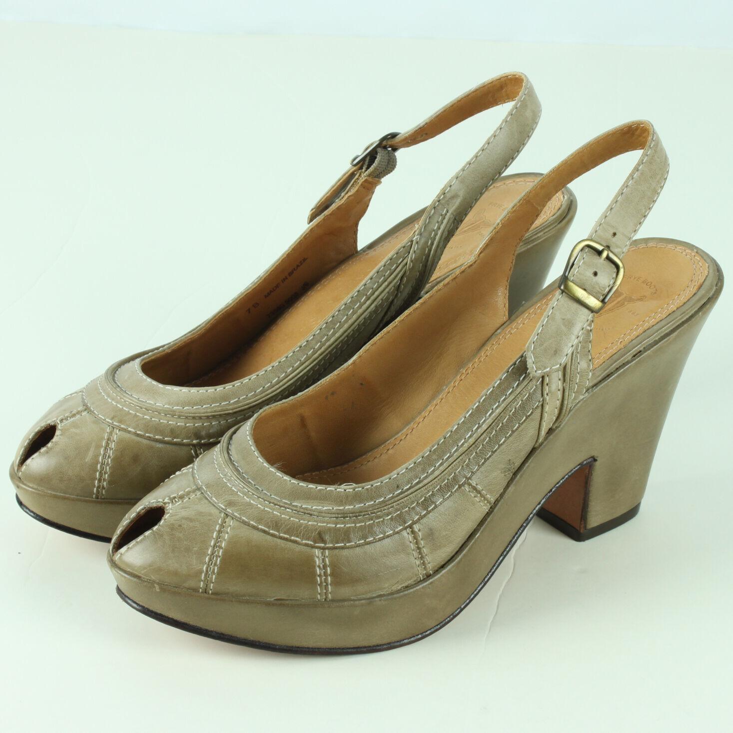 Frye Damenschuhe Größe 7B 7.5 Western Schuhes Peep Toe Slingback 3 Inch Heels Cowboy
