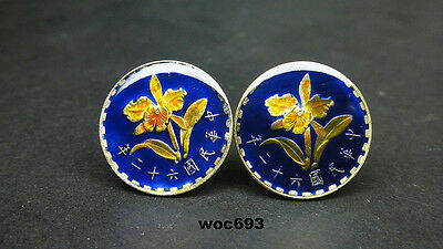 Taiwan enamelled coin cufflinks Orchid enameled coin