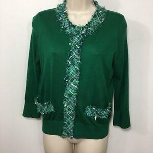 Kate-Spade-Medium-Crewneck-Cardigan-Sweater-Silk-Blend-Tweed-Trim-Green-3-4-Slv