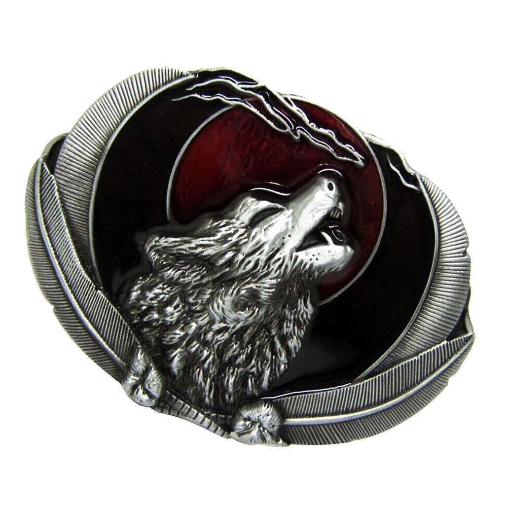 Vintage Rodeo Indian Embossed 3D Vivid Howling Wolf Belt Buckle Unisex Gift