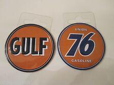 "(2) GULF & UNION 76 Gas & Oil Garage Metal 2 3/16"" Toolbox Mancave Magnets"