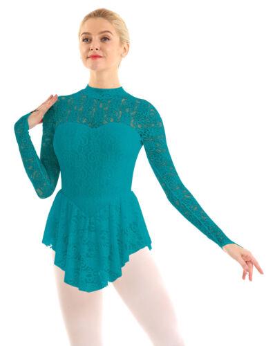 Womens Adult Long Sleeve Lace Leotard Ballet Dance Gymnastics Ice Skating Dress