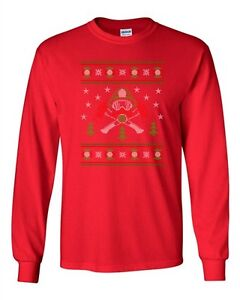 69203f1ee6880 Long Sleeve Adult T-Shirt Firefighter Hero Ugly Christmas Sweater ...