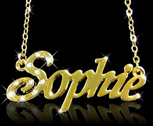 """Necklace With Name /""""Sophie/"""" 18K Gold PlatedPersonalised Czech Rhinestones"""