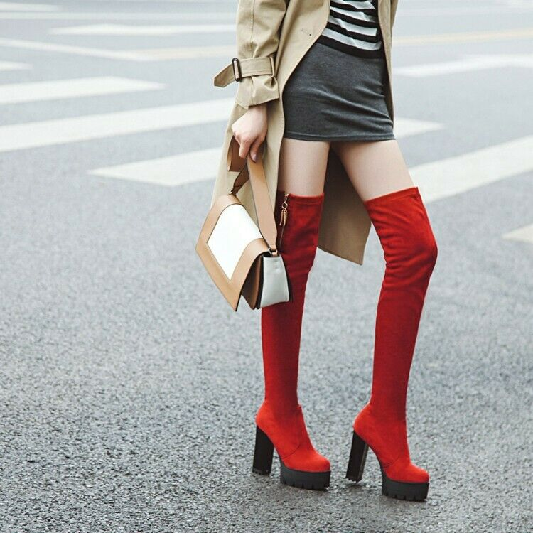 Sexy Women Thigh Boots Platform Black Red Chunky Heels Boots shoes Plus Size 16