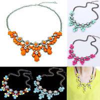 Women Crystal Flower Choker Chunky Statement Bib Necklace Chain Charms Pendants