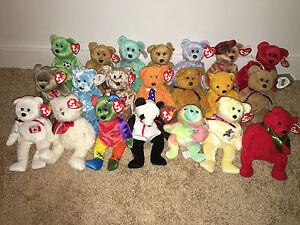 21 TY BEANIE BABIES Bears OSITO Cashew FIXX Fortune KICKS PAPPA Sherbery ARIEL
