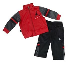 NIKE AIR JORDAN BOYS RED BLACK JACKET PANTS TRACKSUIT SET OUTFIT 4 ... fc7a19ff9b