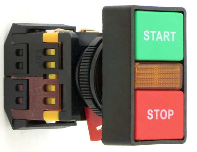 PB-30-GS-RS-C-220V GREEN-START,RED-STOP PUSH BUTTON 30MM LED CLEAR PILOT LIGHT