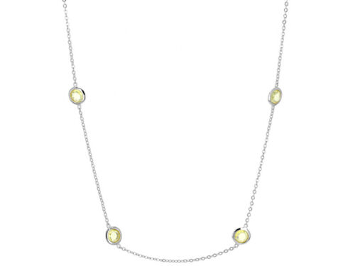 CANARY DIAMOND SIMULANT BEZEL STATION BY THE YARD 18K STERLING SILVER NECKLACE