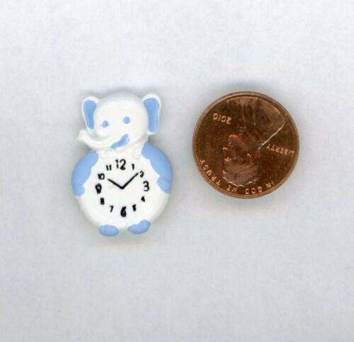 Miniature Dollhouse White Elephant Clock w/ Blue Trim Flat Back 1 H