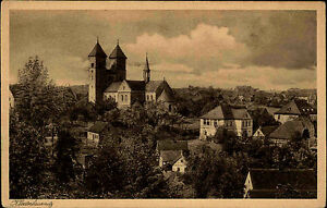 Bad-Klosterlausnitz-Thueringen-AK-1920-30-Kirche-Kathedrale-Dom-Panorama-Haeuser
