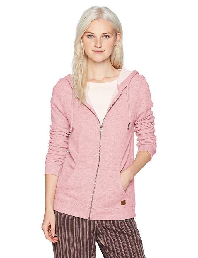 Roxy Women's Trippin Zip up Fleece Sweatshirt, Mellow pink Heather,  SZ L