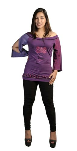 Women's Cotton Long With Sleeved Embroidery Purple T Tops shirt E9WD2IH