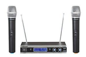 GTD-Audio-2-Channel-VHF-Handheld-Wireless-Microphone-System-Brand-New-V-28H