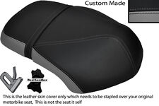 BLACK & GREY CUSTOM FITS YAMAHA XF 50 GIGGLE DUAL LEATHER SEAT COVER ONLY