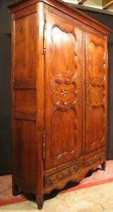 Ancienne Armoire Régionale En Chêne Sculptée Et Marqueté 3 étagères Ou Penderie Surface LustréE