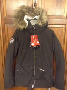 Helly-Hansen-W-Longyear-Flow-Jacket-990-Black-Belt-Hooded-Women-039-s-XS-280-51414