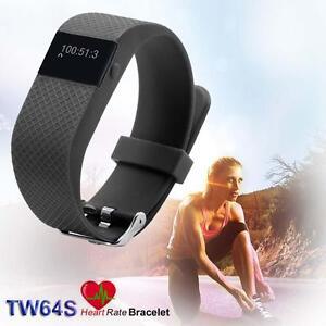 Bluetooth-4-0-IP67-Fitness-Tracker-Smart-Bracelet-Heart-Rate-USB-TW64S-Black-HZ