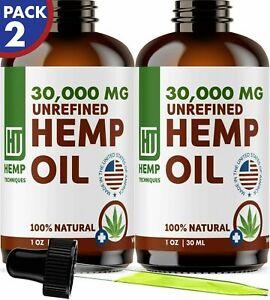 Hemp Oil 2 Pack 30,000 mg For Pain Relief Anxiety, Sleep 2 oz (2 x 1 oz)