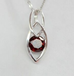 Noble-0-5-Quilates-Colgante-Granate-925-Collar-Plata-Rojo-Sangre-Gema-Superior