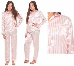 f6a82a5b40 Image is loading Girls-Satin-Pyjamas-Candy-Striped-Pink-White-Silk-