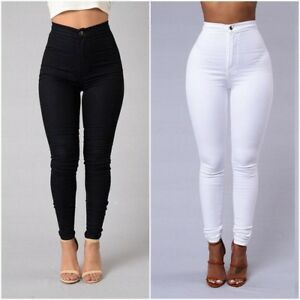 Women-Ladies-Pencil-Stretch-Casual-Elastic-Skinny-Jeans-Pant-High-Waist-Trousers