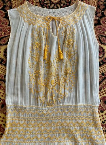 VTG 1930s Hungarian Embroidered Gauzy Sheer Cotton