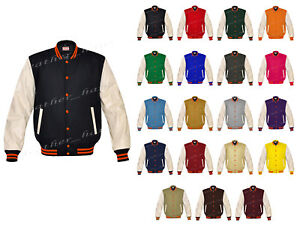 Style Letterman College Jackets Real o Varsity Baseball o Leather Superb c Wool xERqgSYw