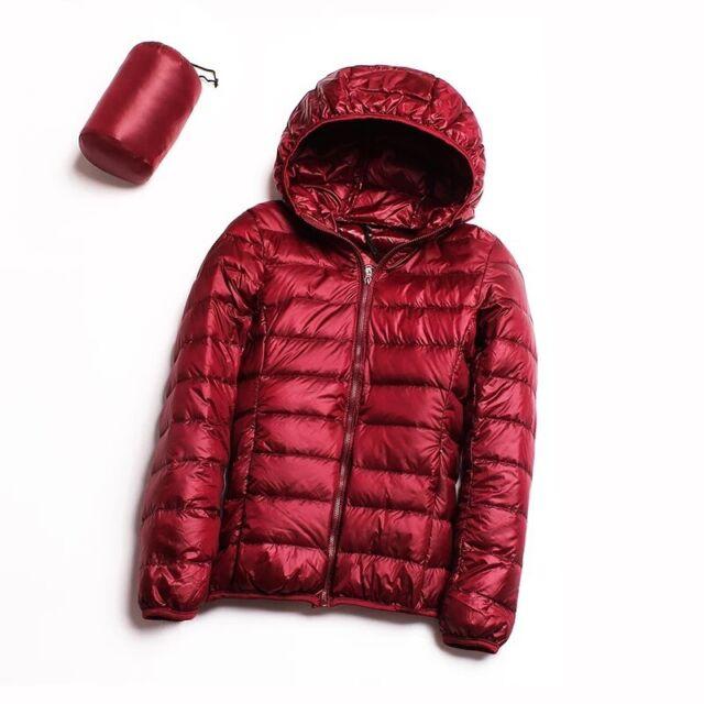 Women Down Coat Ultralight Hoodie Jacket Winter Hoodie Puffer Warm Foldable