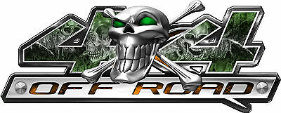 4 x 4 Skull Series Green Truck Vehicle Graphic Decals Stickers