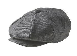100% Wool Grey Pinstripe Newsboy Cap