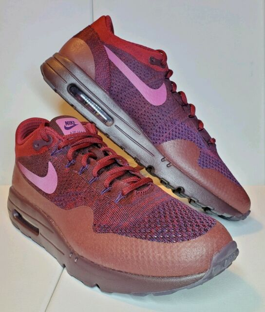 Nike Air Max 1 Ultra Flyknit Mens Sz 13 PurpleRed 856958 566 Running Shoes