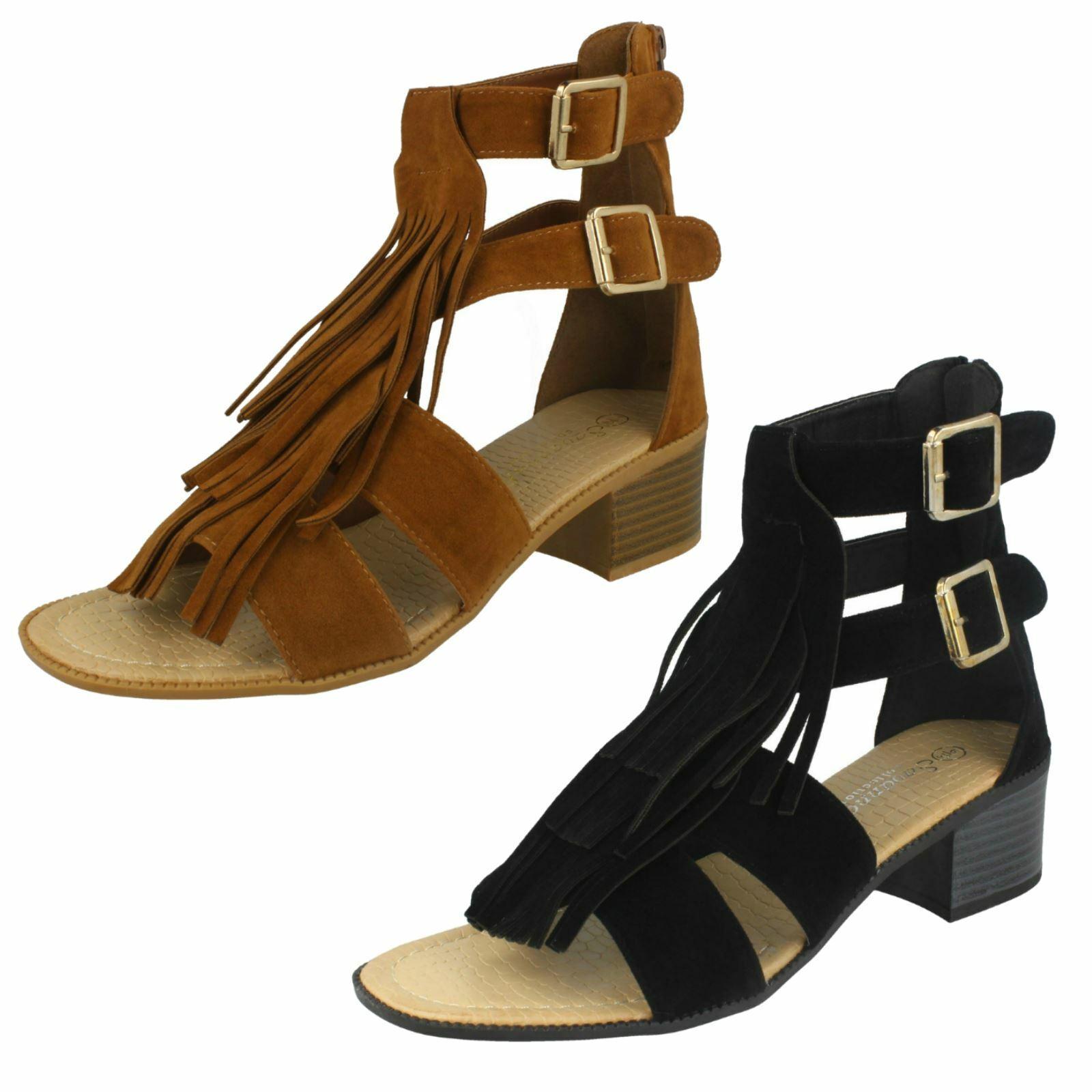 Ladies Savannah Fringe Sandal 'Heel'