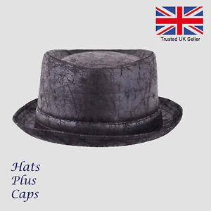 Details about Maz Pork Pie Hat Cracked Distressed Vintage Leather Look  Brown Black Trilby 1df50586eff1