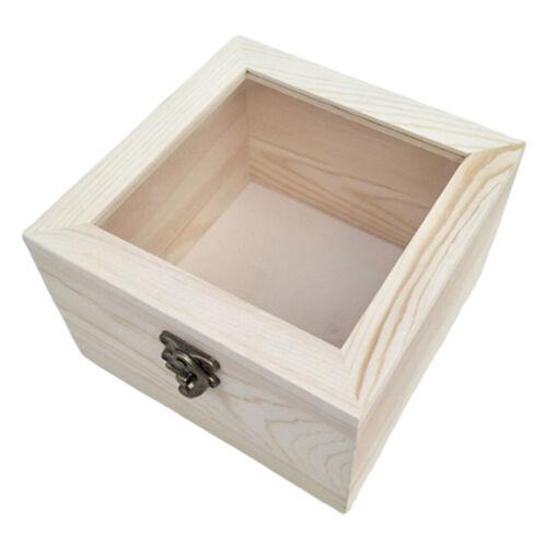 Holz Unbemalte Schmuckschatulle Holzschatulle mit Glasdeckel Handwerk machen