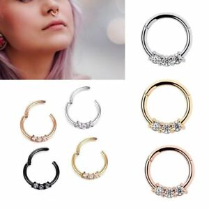 8mm-Triple-Gem-Septum-Clickers-Hinged-Segment-Rings-Tragus-Daith-Cartilage-Ring
