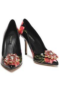 Image is loading Dolce-amp-Gabbana-Crystal-Embellished-Floral-Print-Leather- d6599c328a258