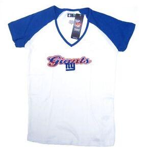 5840bc9887f6 New York Giants NFL White Shirt Women's Fashion Top Blue Sleeves ...