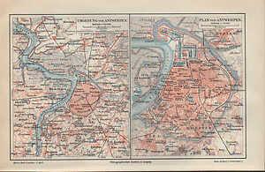 Antwerpen Streng Landkarte City Map 1897 Umgebung Belgien Schelde Europa äRger LöSchen Und Durst LöSchen Stadtplan