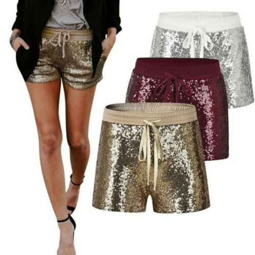 Women Sequins Blingbling Shorts Hot Pants Stage Clubwear Glitter Elastic Waist B
