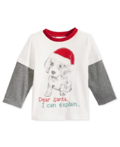 First Impressions Layered-Look Christmas Santa T-Shirt 0-24 months Baby Boys