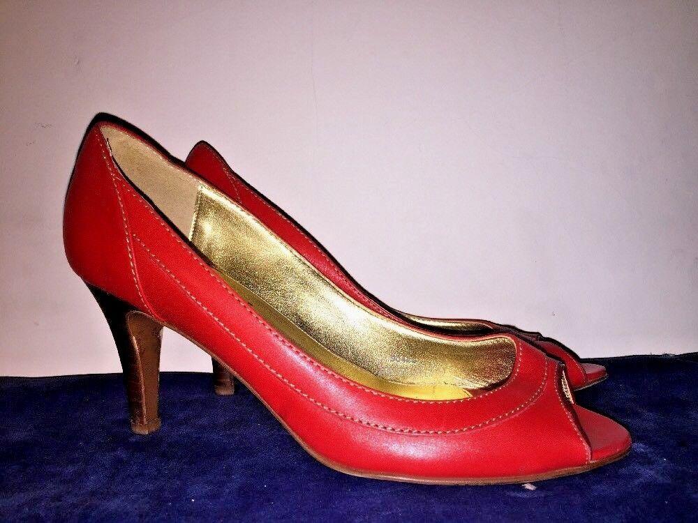 Zapatos De De De Tacón Alto J crew de cuero rojo Italia Peep Toe Zapatos para mujer bombas Classics Talla 8  orden en línea