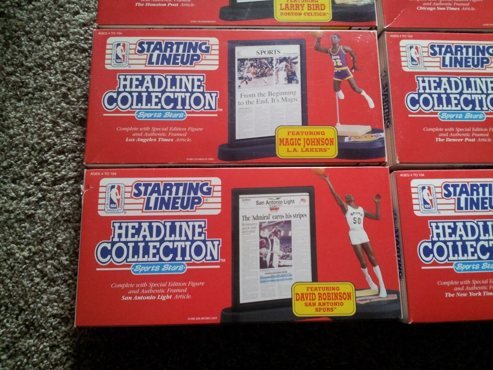 1992 Starting Lineup Headline Collection NBA New Bird, Barkley, Barkley, Barkley, Pippen, Ewing 34a3ad