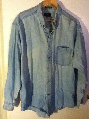 Worn L VTG Club Room Distress Rugged Blue Denim Long Sleeve Shirt Button Pocket