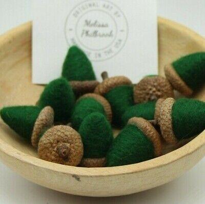 Needle Felted Wool Sage Green Acorn Folk Art Bowl Filler Melissa Philbrook