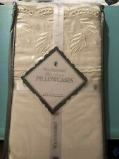 NEW Waterford Linens Castleroche Sage Standard Pillowcase Set of 2 NIP 330TC