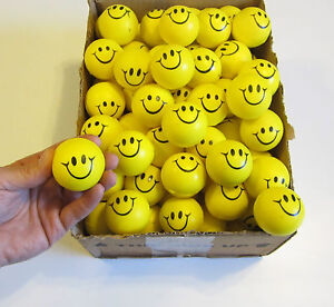 """30 SMILE SMILEY FACE STRESS RELIEF BALLS 2"""" FOAM HAND THERAPY SQUEEZE TOY BALL"""