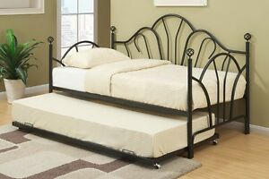 NEW Black Metal Day Bed W/ 15 Slats and Gentle Curves, Twin Size