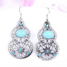 Hollow Flower Turquoise Gourd Shaped Pendant Tibet silver Hook dangle earrings